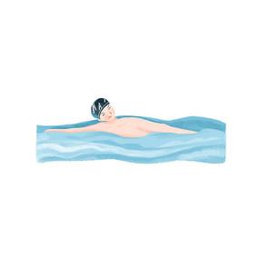 手绘游泳人物