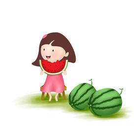 原创元素手绘女孩吃西瓜
