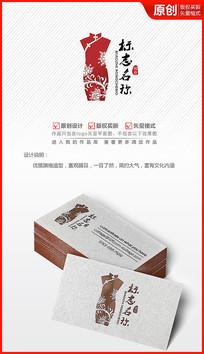 中国风唯美旗袍logo设计商标标志