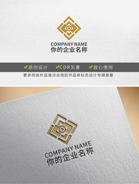 方形铜钱金融保险银行logo