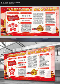 关注消防展板知识宣传设计模板