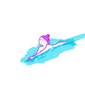 简约卡通夏日游泳的女孩插画元素