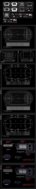 400米跑道田径运动场地CAD施工图