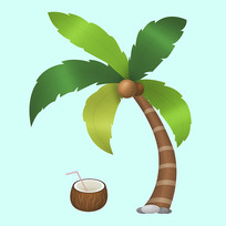 原创夏季椰子树元素