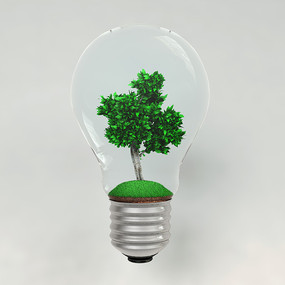 环保节能灯泡大树素材