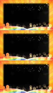 卡通金色彩虹光芒边框视频素材