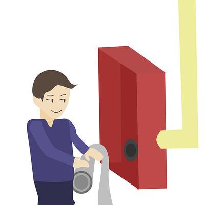 卡通消防员消防栓使用方法第二步元素