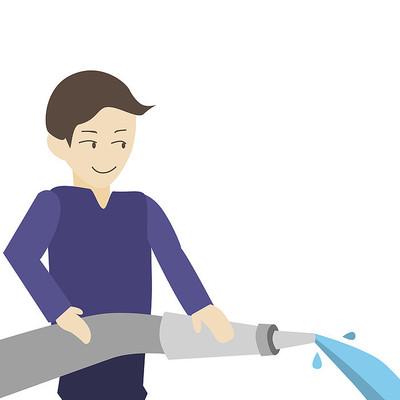 卡通消防员消防栓使用方法第六步元素