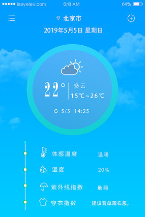天气预报时尚手机界面设计