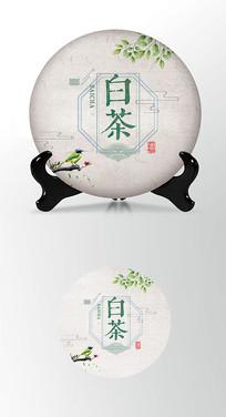白茶茶饼棉纸图案包装设计PS