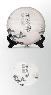 禅茶大气简约茶叶棉纸茶饼包装设计