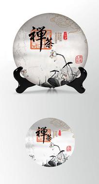 禅茶印章茶叶棉纸茶饼包装设计