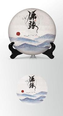 高档佛茶茶叶棉纸茶饼包装设计