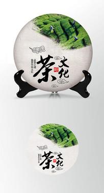 绿色茶园茶叶棉纸茶饼包装设计PS