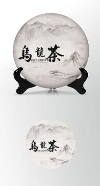 乌龙茶茶叶棉纸茶饼包装设计PSD
