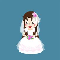 原创元素婚纱女孩