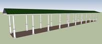 长条廊架SU模型
