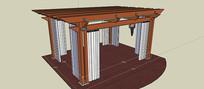 方形凉棚架含尺寸SU模型