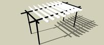 简易木质棚架SU模型