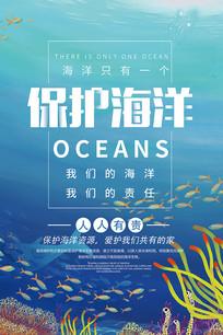 蓝色保护海洋宣传海报