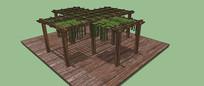 绿植廊架SU模型