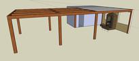 木灶廊架SU模型