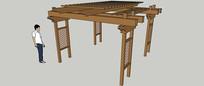 木质格子廊架SU模型