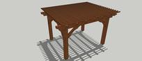 木质四方格子廊架SU模型