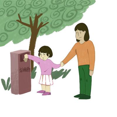 手绘文明城市小女孩扔垃圾元素