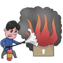 手绘消防知识火灾灭火漫画元素