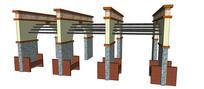 四联排廊架SU模型