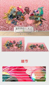 现代3d立体抽象孔雀鱼背景墙