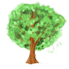 原创手绘世界环境日绿色树木元素