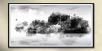 云雾水墨画水彩画
