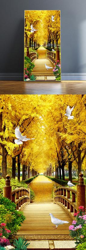 鸽子黄金大道树林玄关背景墙