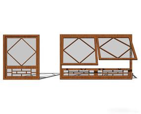 组合型中式窗户模型