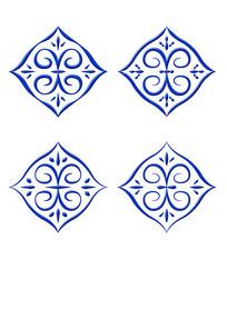 3D立体复古青花元素纹样组合(4款)