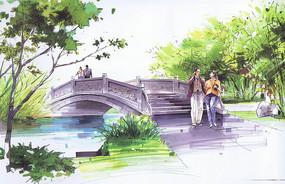 景觀石橋彩色手繪 JPG
