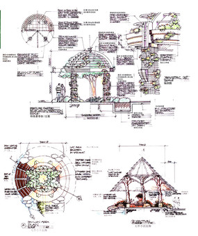 景观圆顶亭三角亭立面手绘
