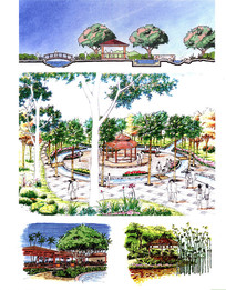 木质亭子景观手绘