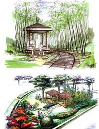 石制亭子景观手绘