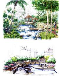 亭子河道景观手绘