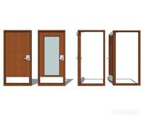 现代极简卧室门组合模型