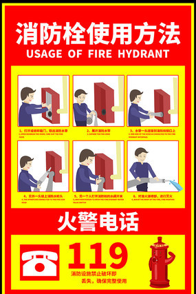 消防栓使用方法消防贴设计