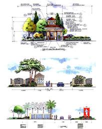 小区入口建筑剖面图手绘
