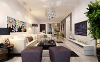 白色现代家装客厅3D