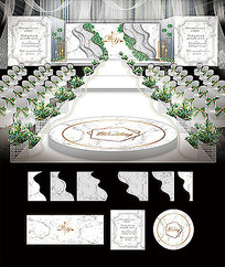 大理石婚礼舞台背景板效果图