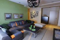 灰色家装客厅3D模型