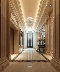 酒店一层电梯厅过道3D