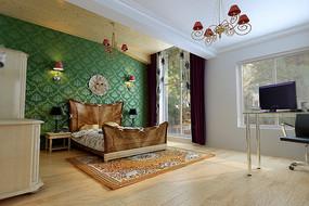 绿色背景墙家装次卧3D模型